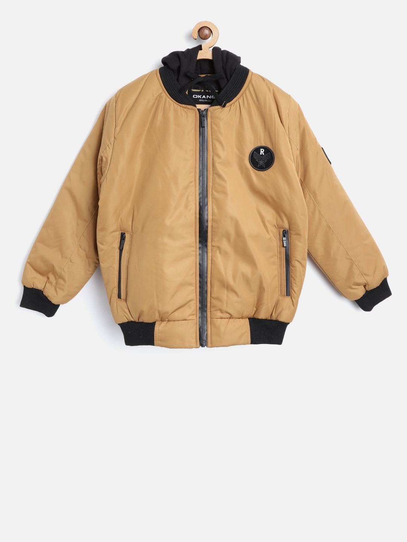 6e3b62987 Okane Boys Mustard Yellow Hooded Bomber Jacket
