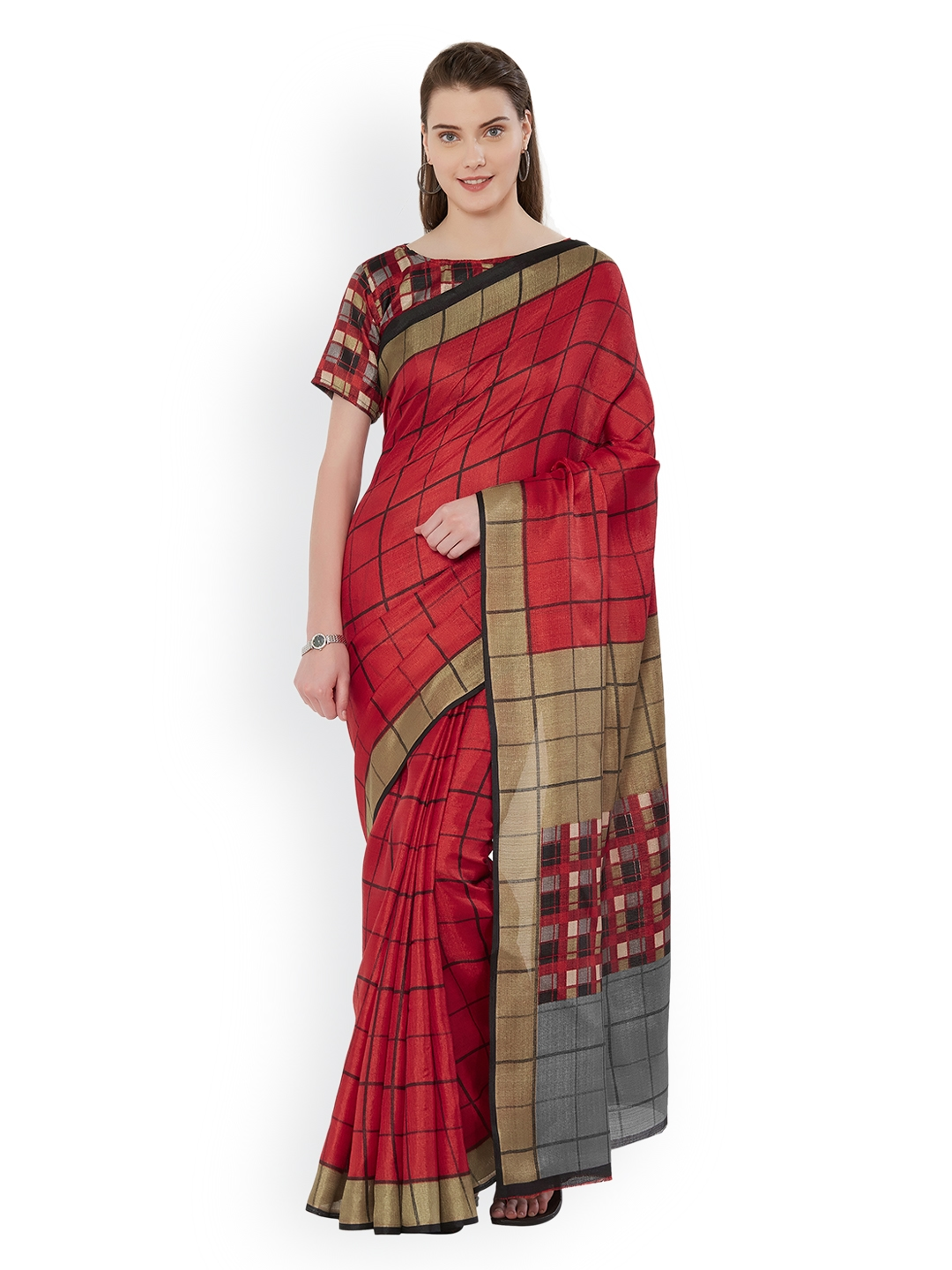 1163717ec179b Buy Mirchi Fashion Red Checked Art Silk Saree - Sarees for Women ...