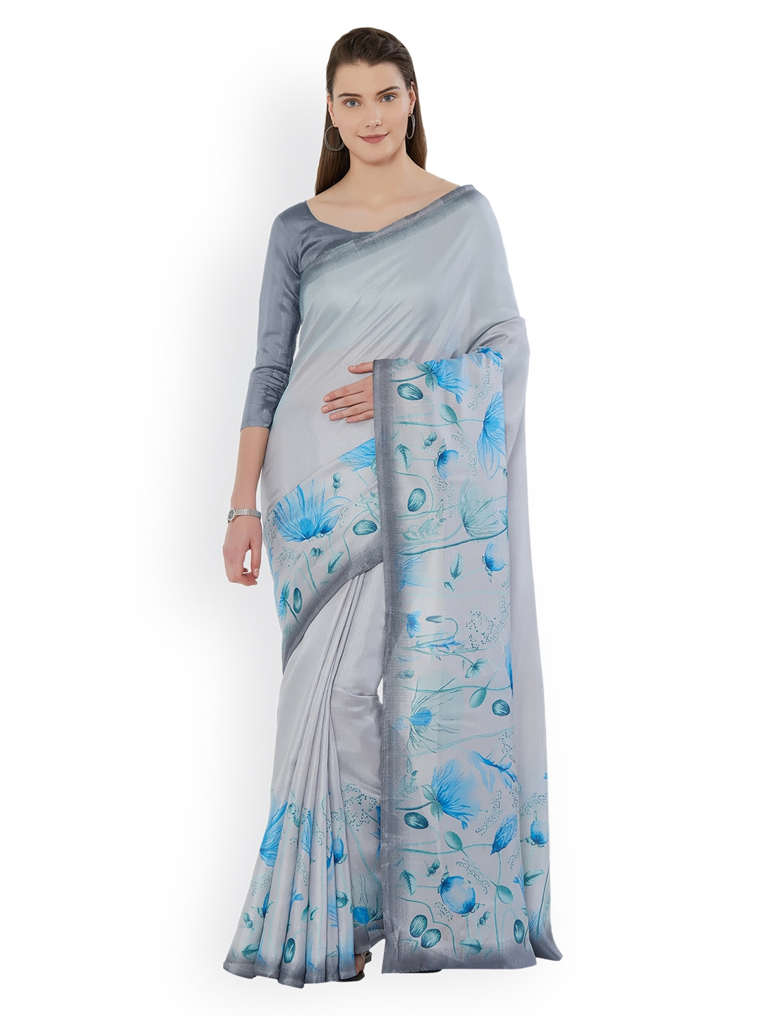 aa21d782b39ad Buy Mirchi Fashion Grey   Turquoise Blue Art Silk Printed Saree ...
