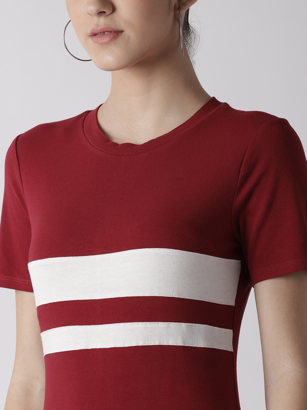 maroon and white striped t shirt dress