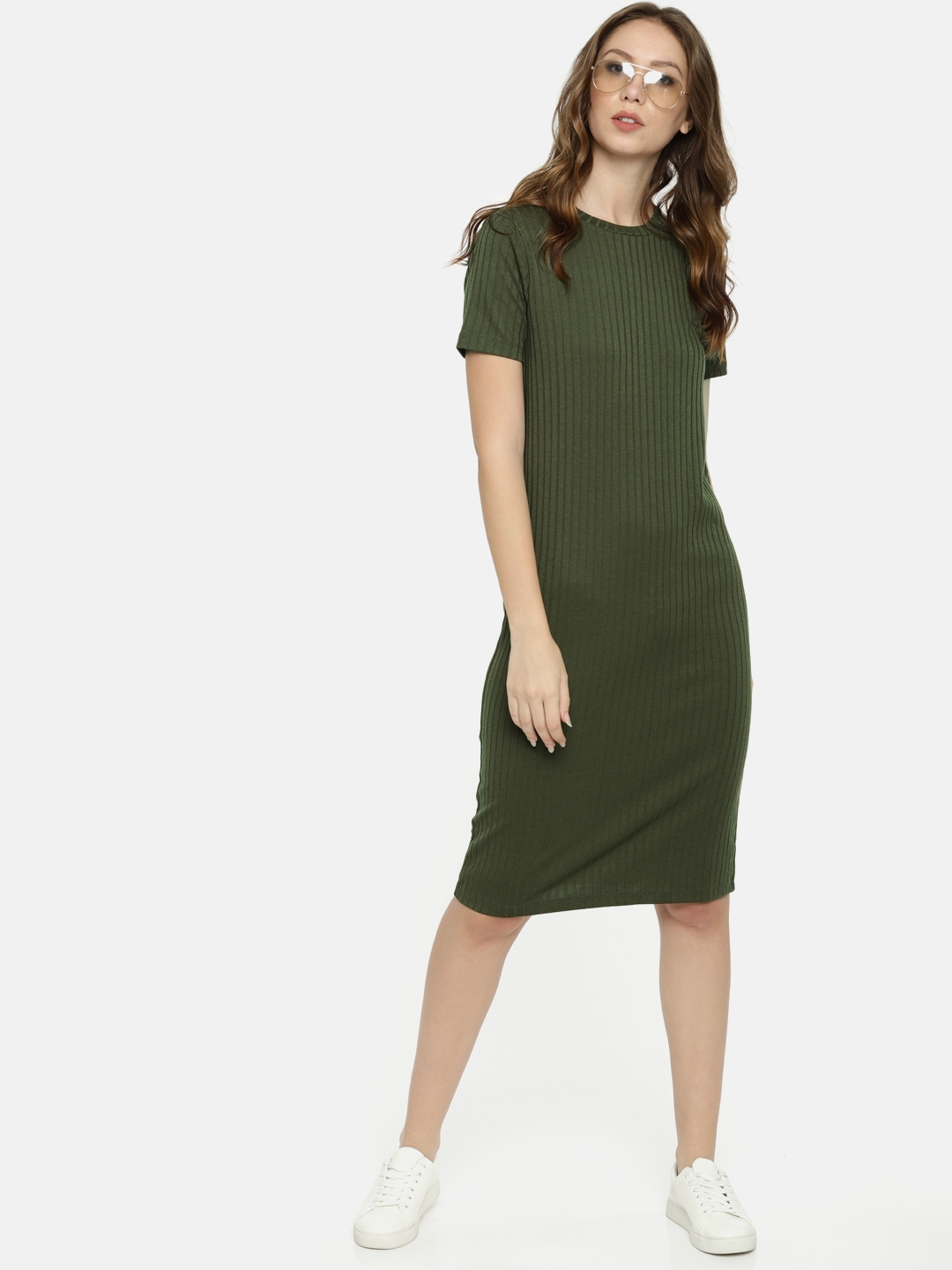 FOREVER 21 Women Olive Green Self Striped Sheath Dress