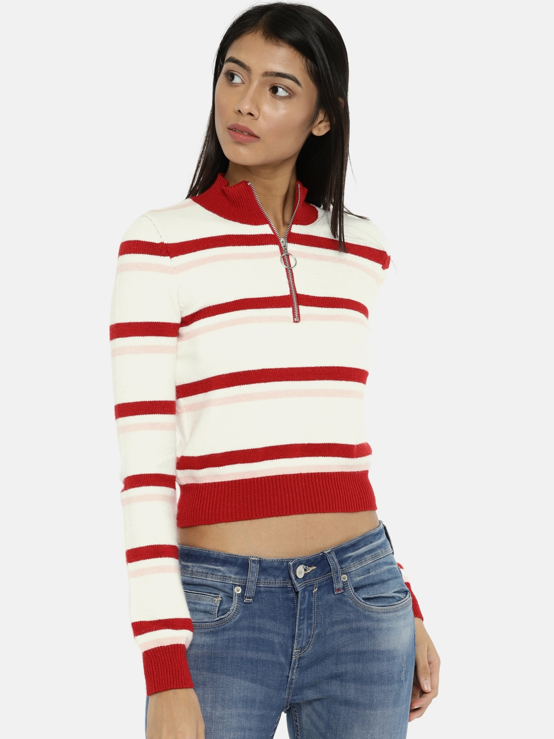 d164bbafc175be Buy FOREVER 21 Women Off White & Red Striped Cropped Pullover ...