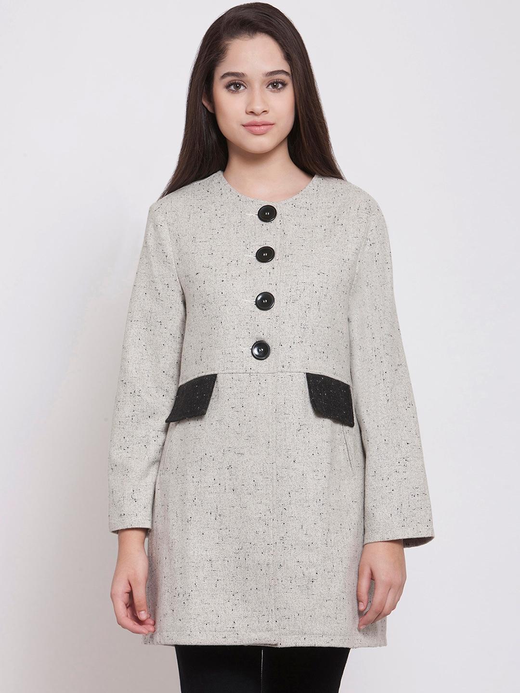 Buy Martini Women Off White   Black Self Design Regular Fit Overcoat ... 6767bc94e8