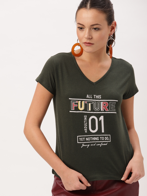 864af387d83ac Buy DressBerry Women Olive Green Printed V Neck T Shirt - Tshirts ...
