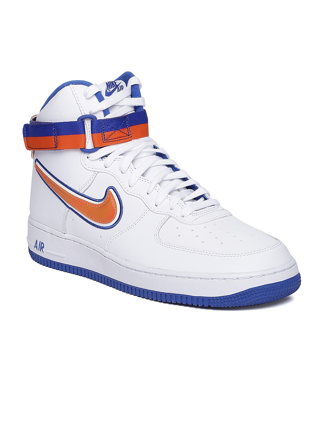 online store 18ebd 7350c Nike Men White   Orange Air Force 1 High  07 LV8 Mid Top Leather Sneakers