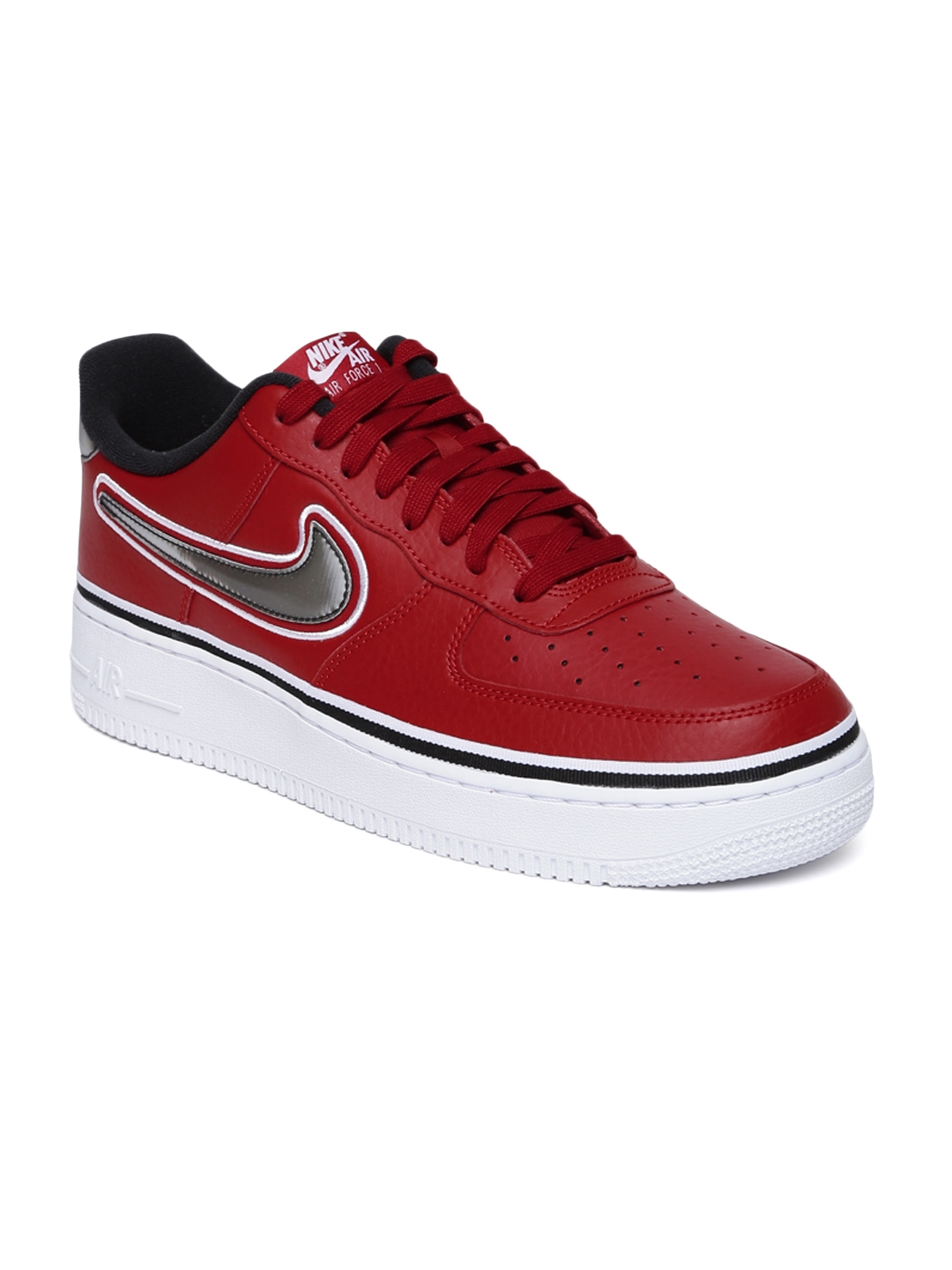 0880e648e33f Nike Men Red Air Force 1  07 LV8 Sport Perforated Leather Sneakers