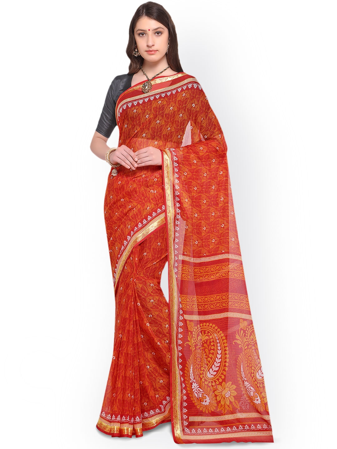 4c7999f552b Buy Triveni Red Printed Poly Georgette Saree - Sarees for Women ...