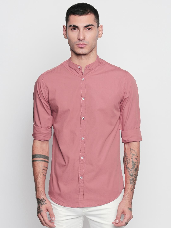 Dennis Lingo Men Pink Slim Fit Solid Casual Shirt