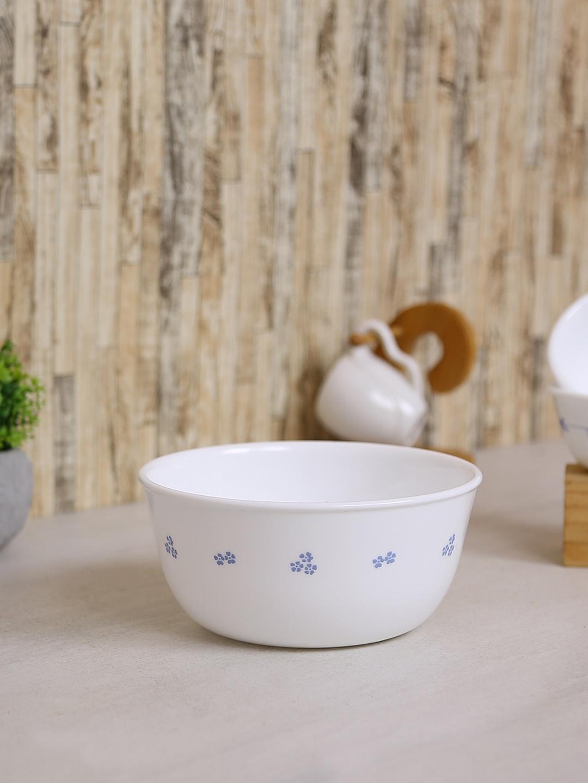 Corelle White Set Of 3 Printed Glass Bowls