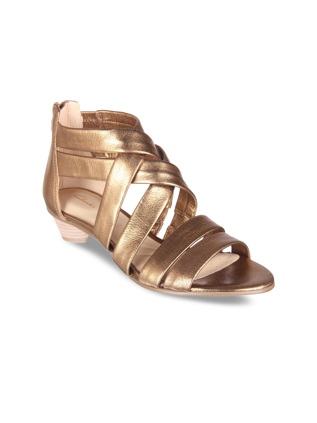 7125a02ae44 Buy Clarks Women Gold Toned Solid Gladiators - Heels for Women ...