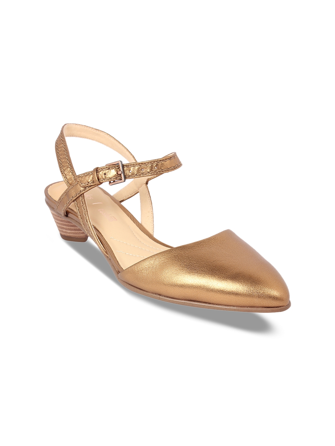 a152814385f4 Buy Clarks Women Gold Toned Solid Leather Sandals - Heels for Women ...