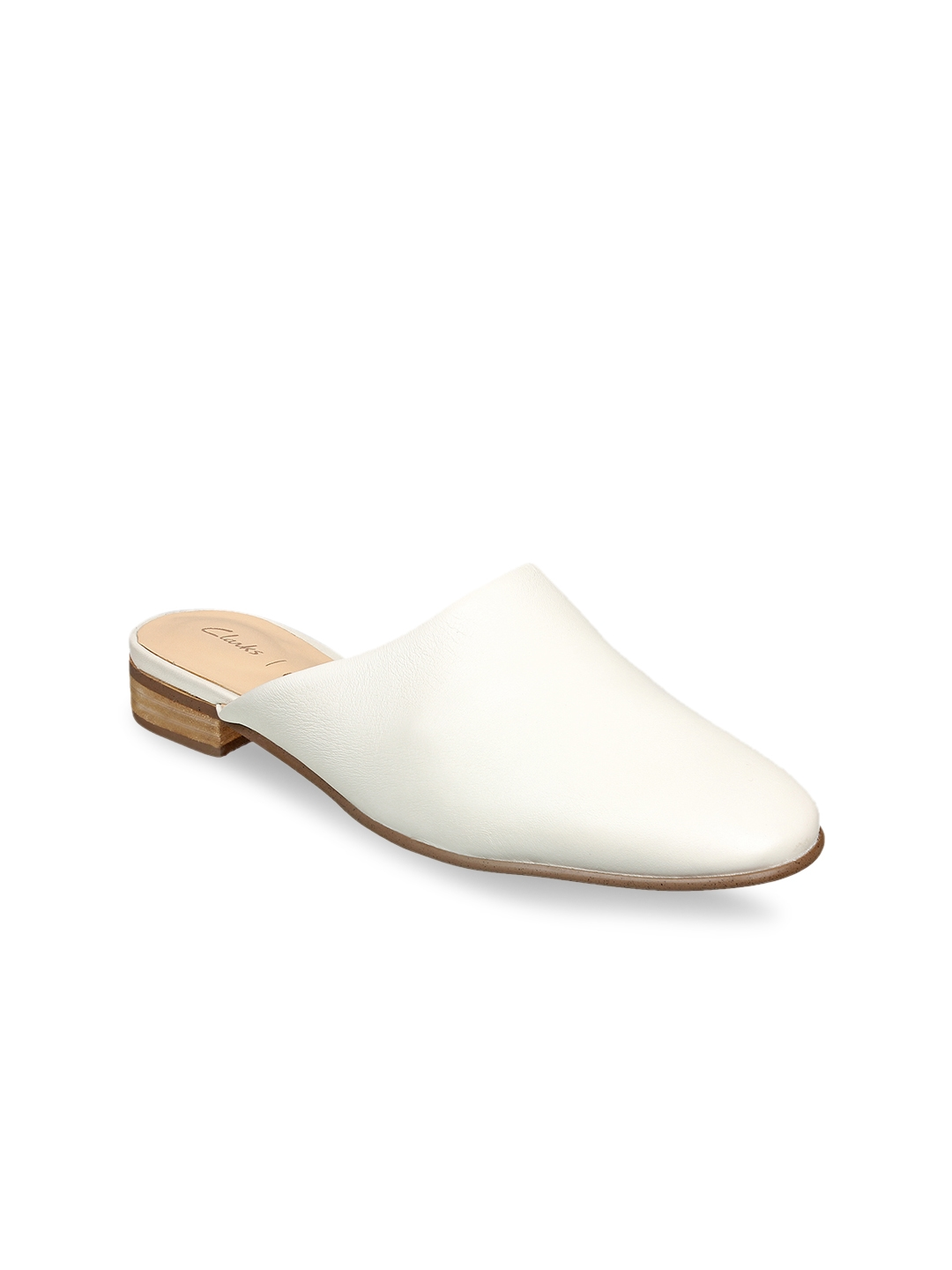 7a51ac5ae Buy Clarks Women White Solid Leather Mules - Flats for Women 7492585 ...