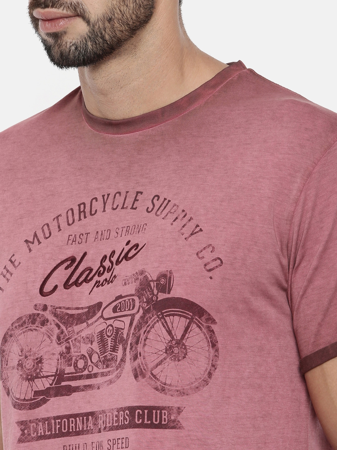 aebd4199 Buy Classic Polo Men Brown Printed Round Neck T Shirt - Tshirts for ...