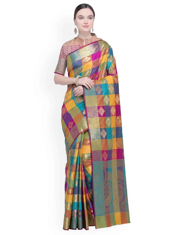53cf26f2562 Buy Ishin Multicoloured Woven Design Poly Silk Saree - Sarees for ...