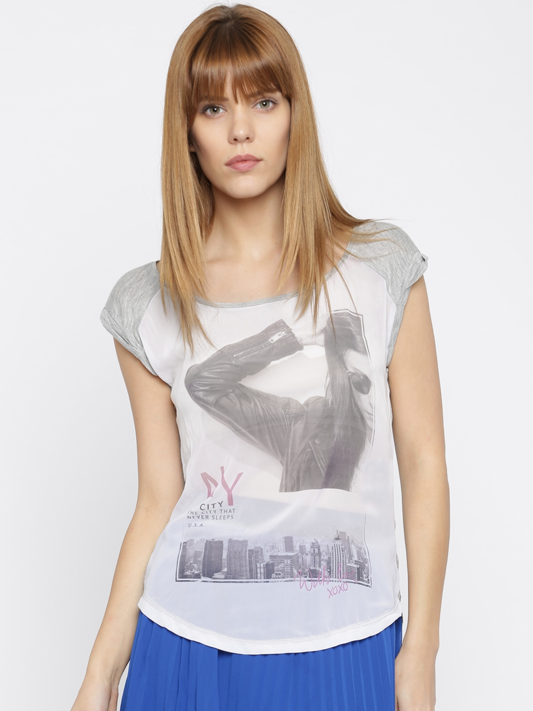 ONLY Women Grey Printed Top