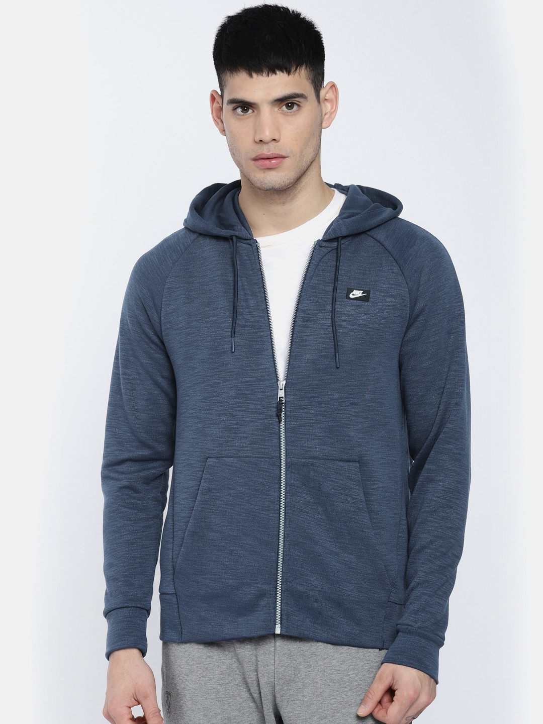 Nike Men Blue AS M NSW OPTIC HOODIE FZ Sporty Jacket
