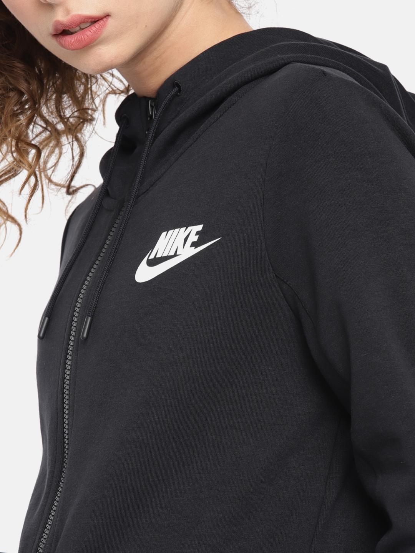 Buy Nike Women Black AS W NSW AV15 HOODIE FZ Solid Hooded Sporty ... 266a510ec9aa