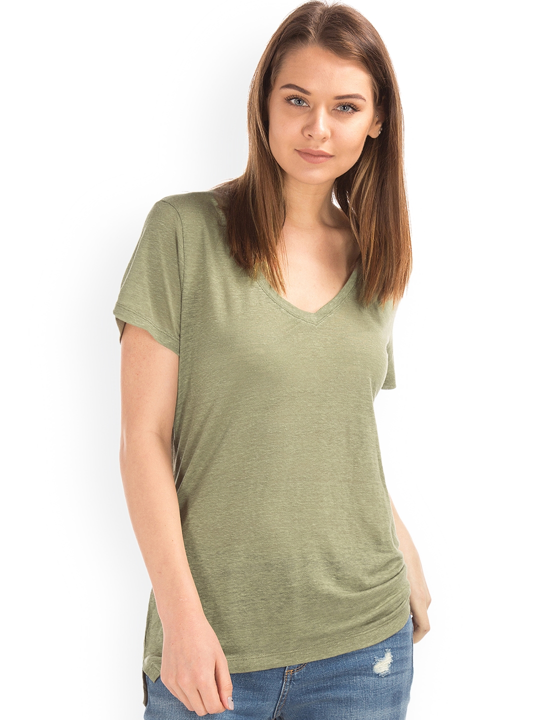 39971ddb3c Buy GAP Women Olive Green Linen V Neck T Shirt - Tshirts for Women ...