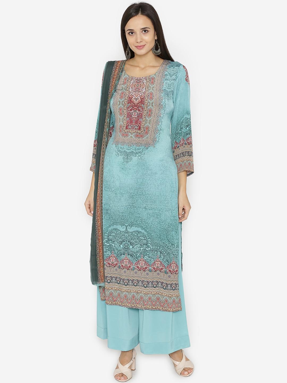802839c33a Buy Pinkshink Blue Silk Crepe Unstitched Dress Material - Dress ...
