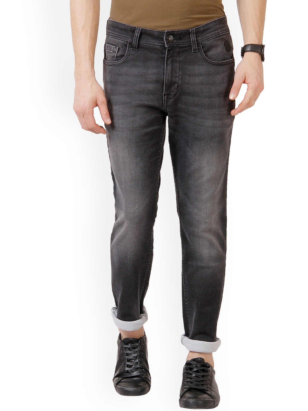 cf7101ce DERBY JEANS COMMUNITY Men Grey Slim Fit Mid-Rise Clean Look Stretchable  Jeans