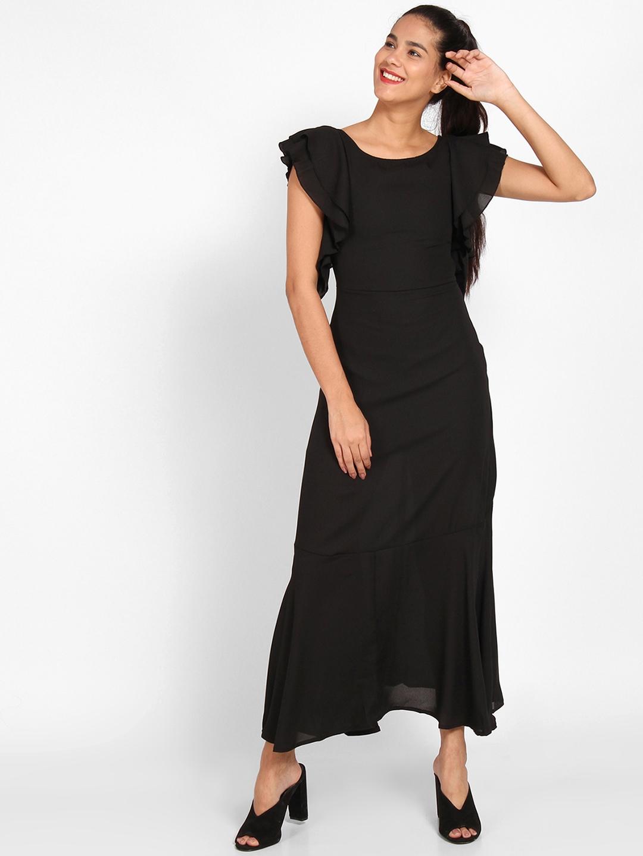 b0fd8c7d523 Buy StalkBuyLove Women Black Solid Maxi Dress - Dresses for Women ...