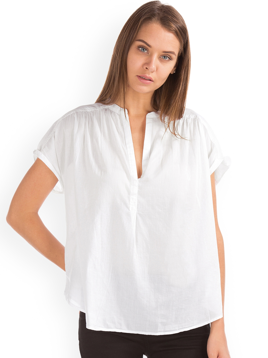 cf283feba1ef Buy GAP Women White Solid Dobby Popover Top - Tops for Women 7502772 ...