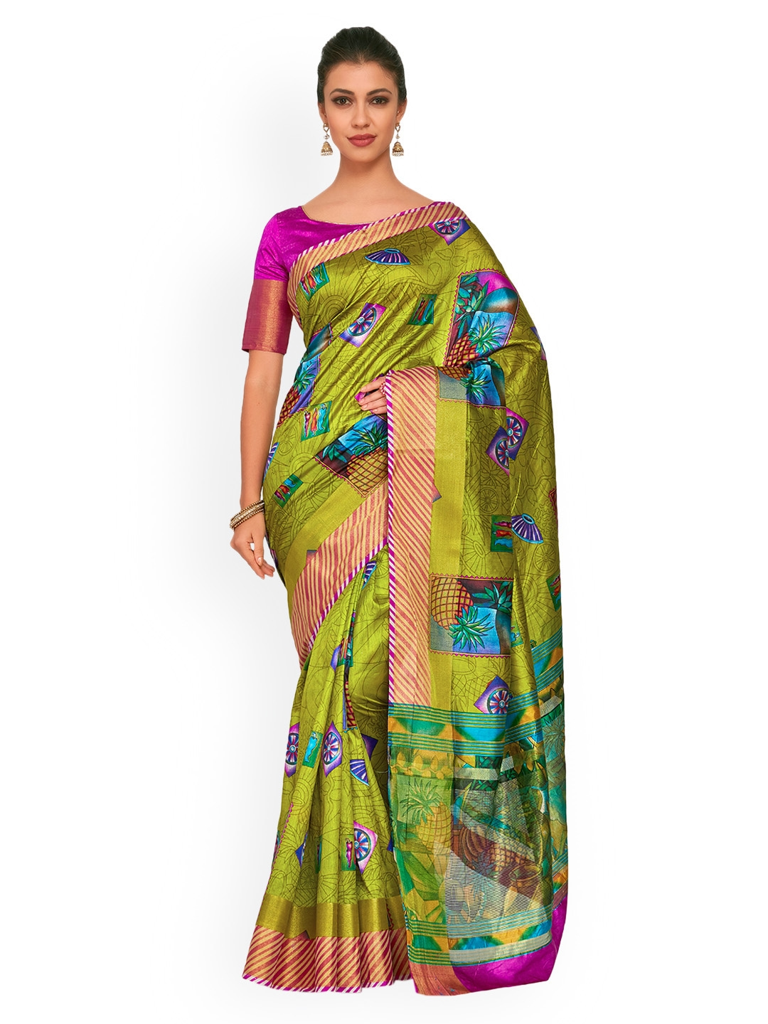 cd79dfc67eb Buy KUPINDA Women Olive Green Art Silk Printed Ikat Saree - Sarees ...
