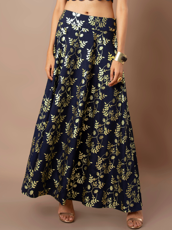 b638cb95e3 Buy INDYA Women Blue Leaf Print Foil Flared Maxi Skirt - Skirts for ...