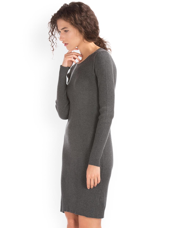1321f23be0e6 Buy GAP Ribbed Charcoal Grey Long Sleeve Dress - Dresses for Women ...