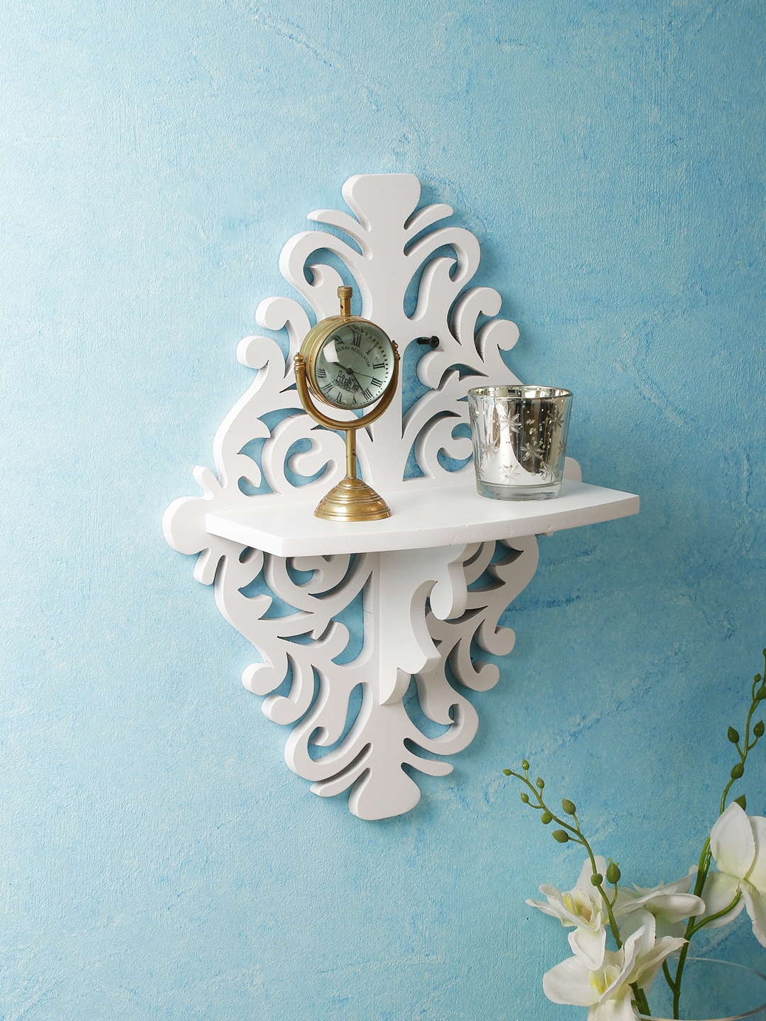 Home Sparkle White MDF Basic Wall Shelf