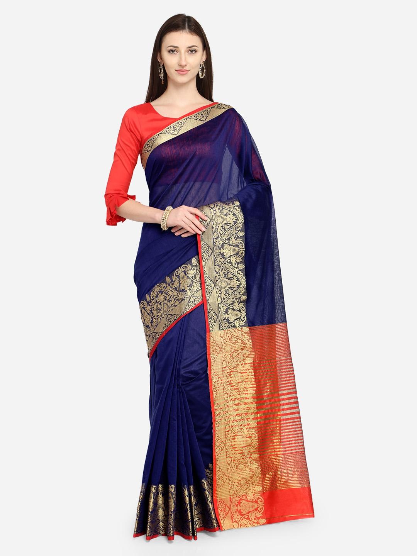 87652a7147 Buy Saree Swarg Navy Blue Woven Design Banarasi Saree - Sarees for ...