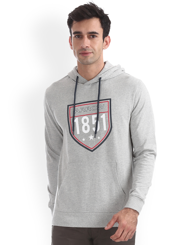 Arrow Sport Men Grey Printed Hooded Sweatshirt