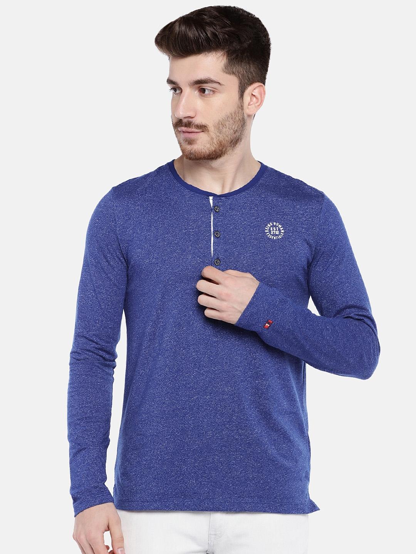 Being Human Men Blue Self Design Henley Neck T shirt