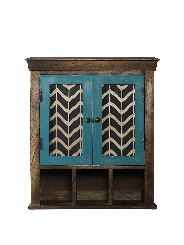 eb712c44c Buy FABULIV Coffee Brown Wood Basic Wall Shelf Double Door Ex Large ...