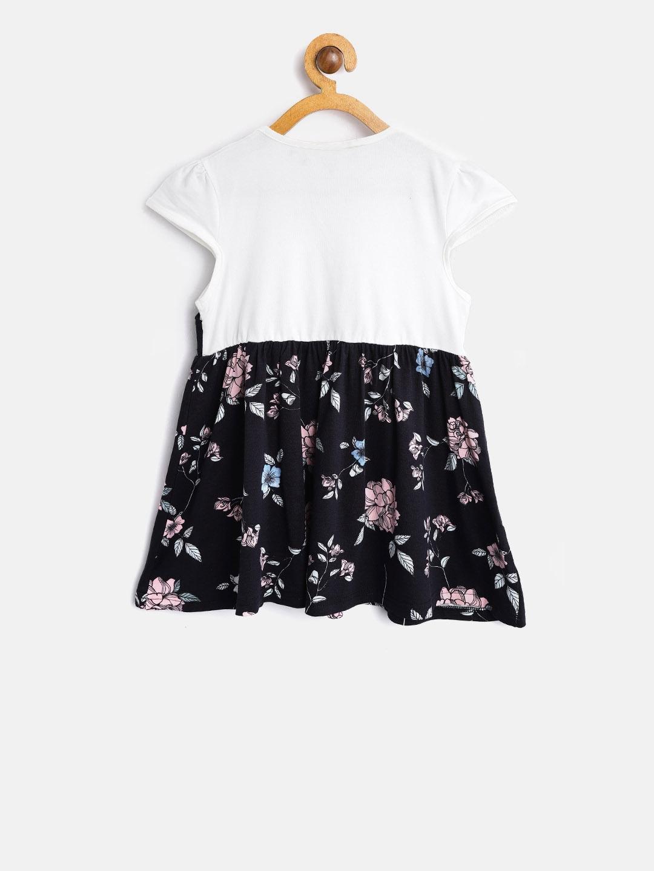 18847b89b7 Buy Kids On Board Girls Navy & White Printed Fit & Flare Dress ...