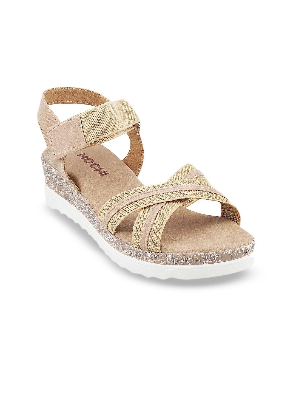 Buy Mochi Girls Beige Solid Sandals