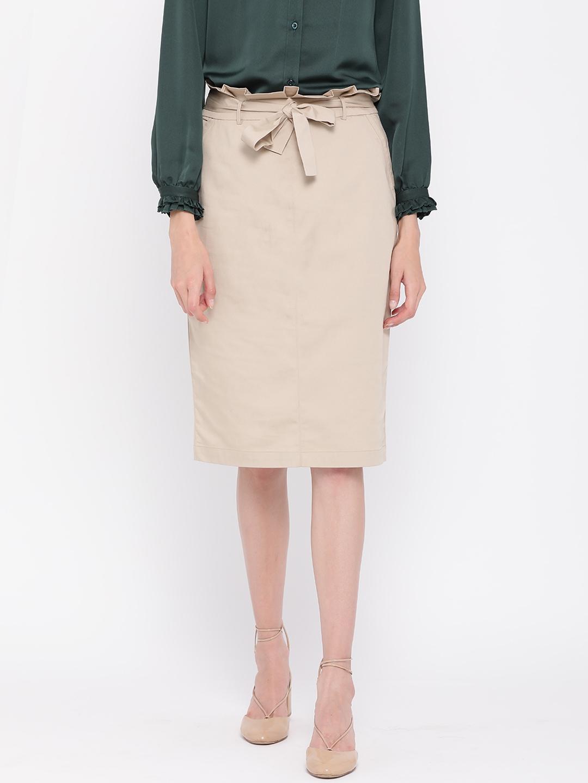 aedd35b9fe Buy Postfold Beige Solid Knee Length Pencil Skirt - Skirts for Women ...