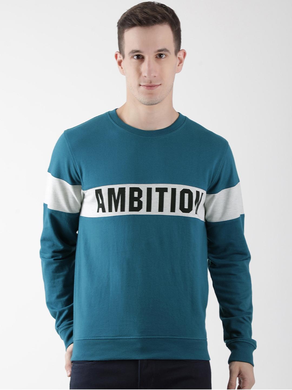 Club York Men Teal Blue Printed Sweatshirt