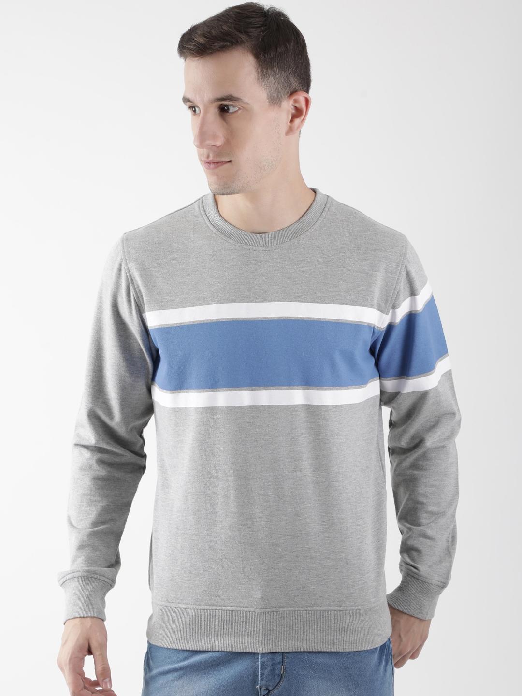 Club York Men Grey Colourblocked Sweatshirt