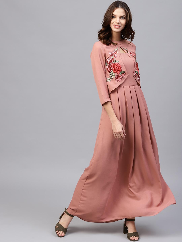 Athena Women Dusty Pink Layered Solid Maxi Dress Athena Dresses