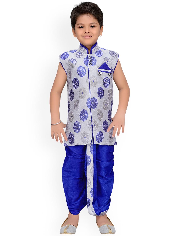 63611b0a49f Buy Aj DEZInES Boys Grey   Blue Self Design Kurta With Dhoti Pants ...