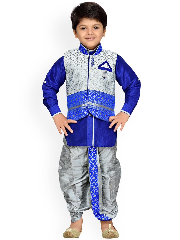 05b25e624b2 Buy Aj DEZInES Boys Blue   Grey Self Design Kurta With Dhoti Pants ...