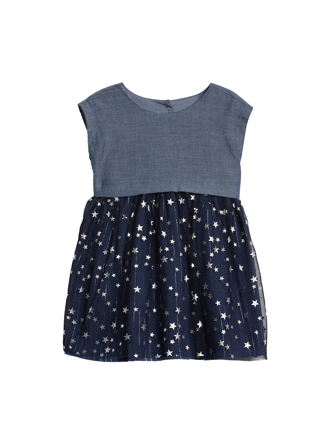 d868223b5bee Buy GAP Blue Baby Chambray Star Mix Fabric Dress - Dresses for Girls ...