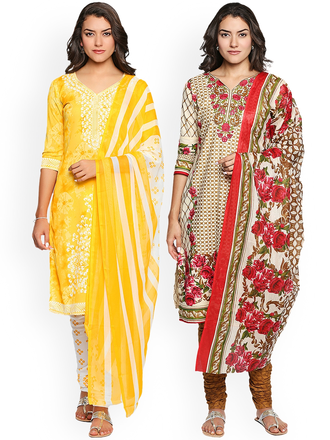 Ishin Pack of 2 Combo Unstitched Salwar Suit Dress Material With Dupatta