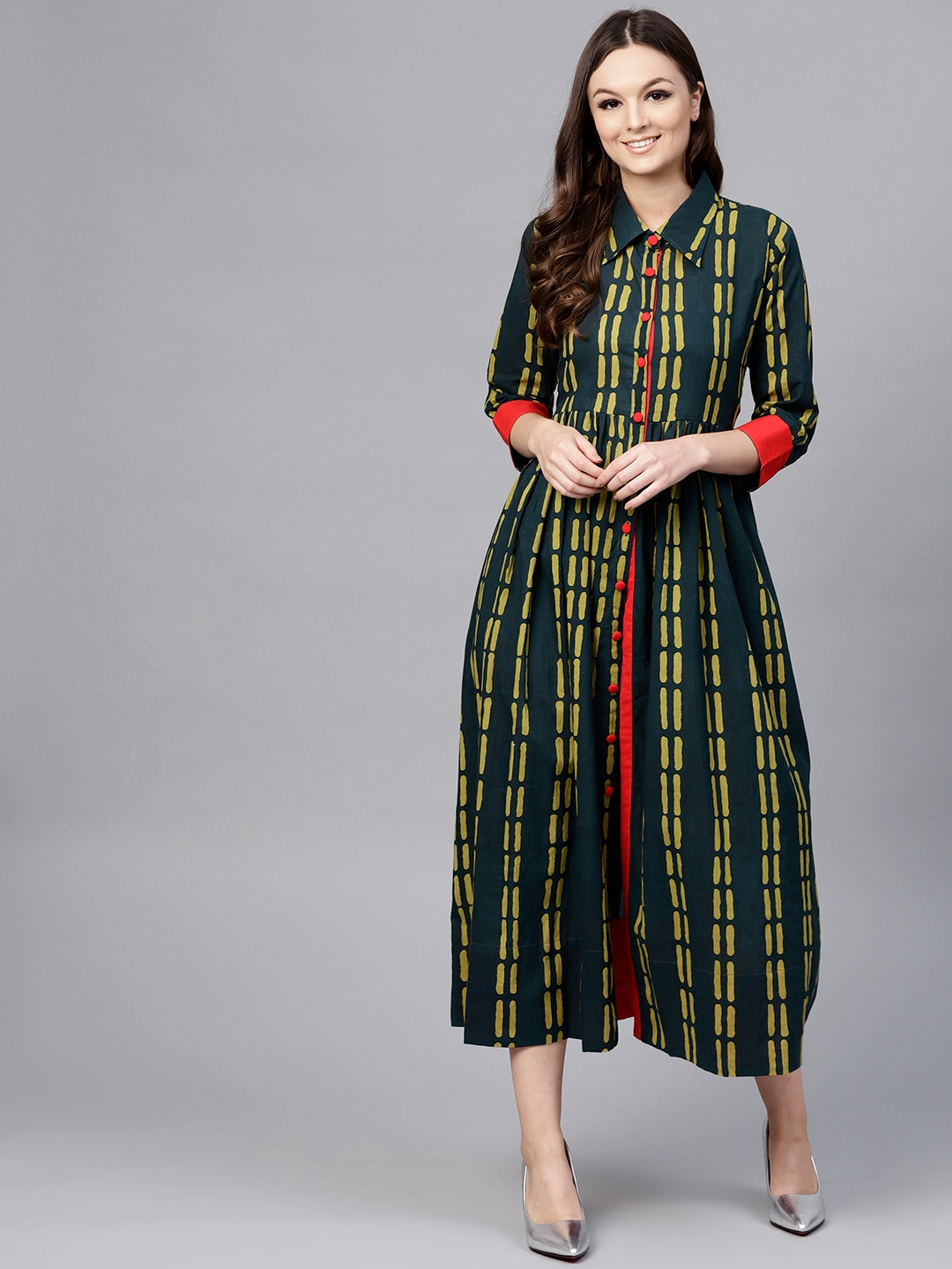 f017a2a261 Buy Aasi Women Green   Yellow Printed Empire Dress - Dresses for ...