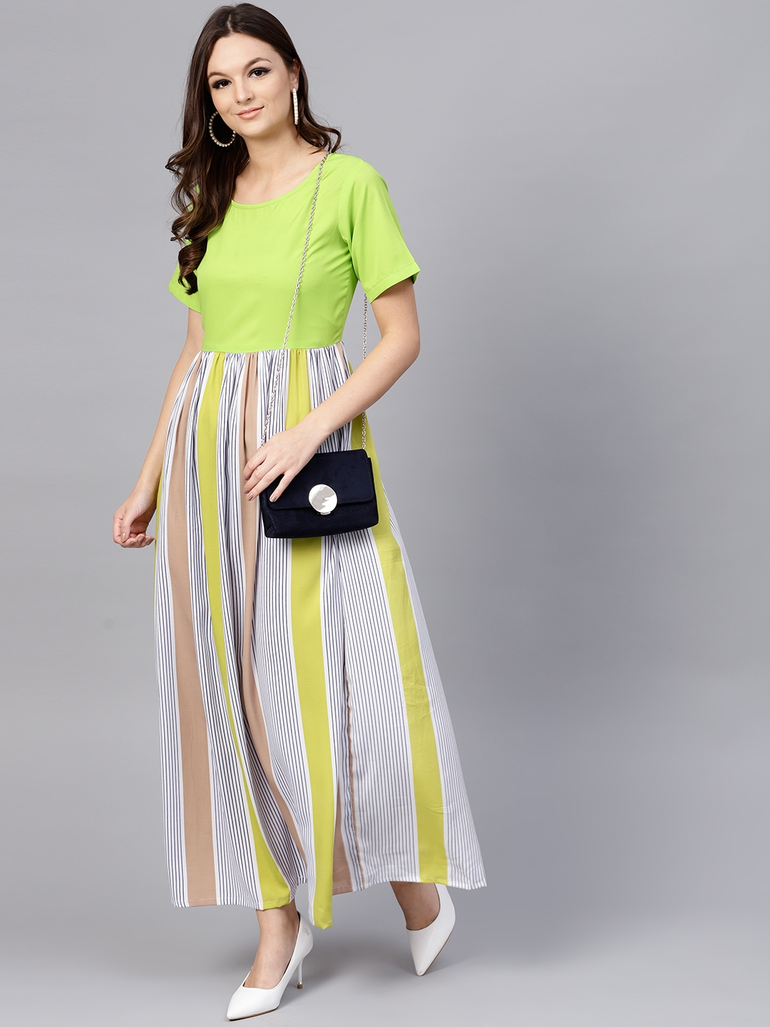 578a7527e4 Buy Aasi Women Green   Off White Striped Maxi Dress - Dresses for ...