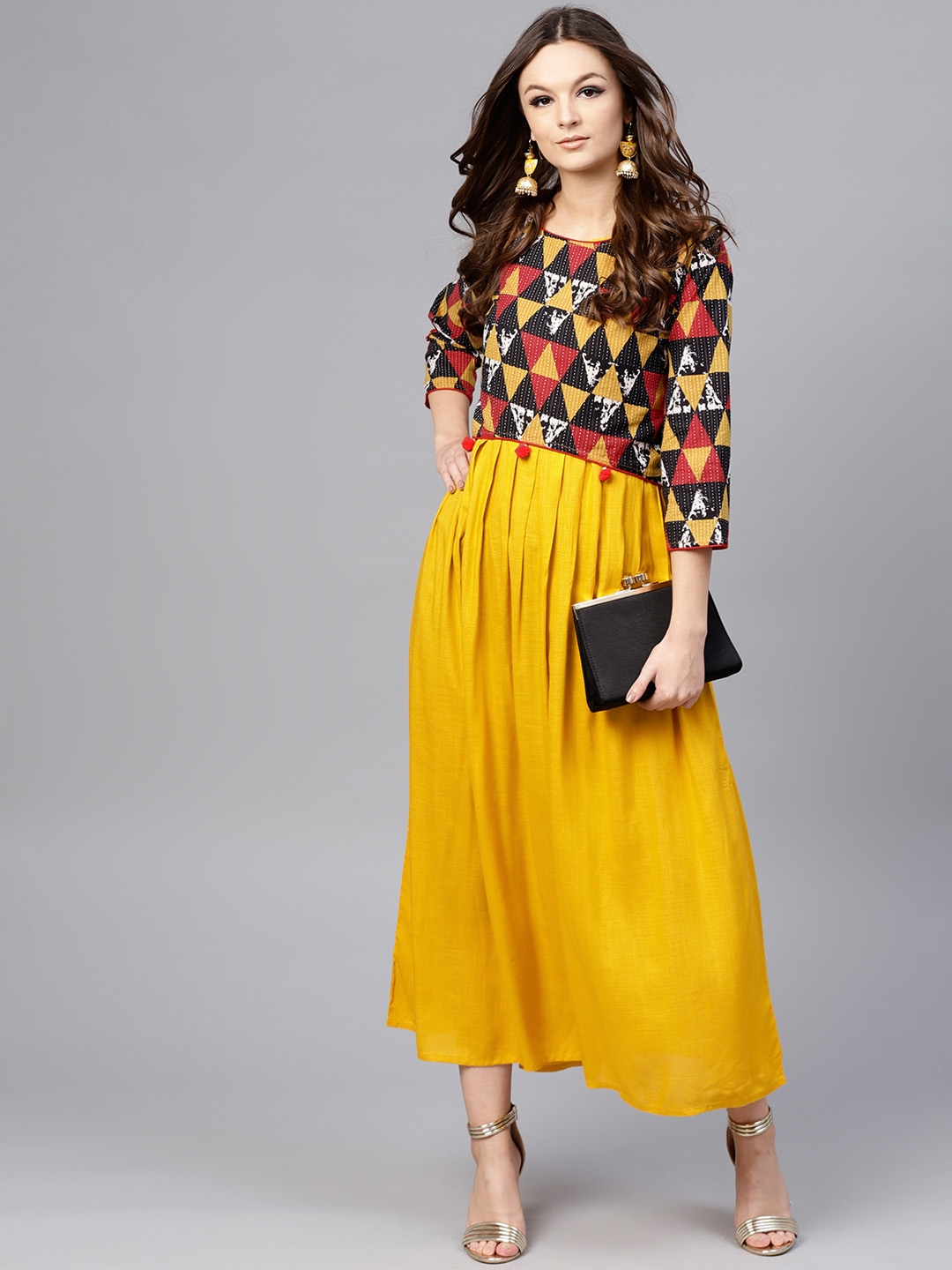 657a2b99a4 Buy Aasi Women Mustard Yellow Solid Maxi Dress With Crop Top ...