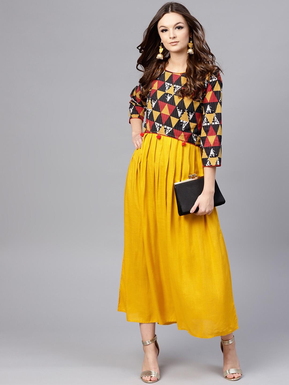 e959120f29da Buy Aasi Women Mustard Yellow Solid Maxi Dress With Crop Top ...