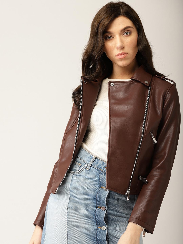 Buy Mango Women Brown Solid Biker Jacket Jackets For Women 7544816 Myntra