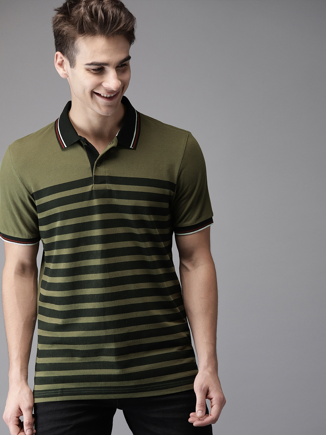a1dea577b1 Buy HERE&NOW Men Olive Green & Black Striped Polo Collar T Shirt ...